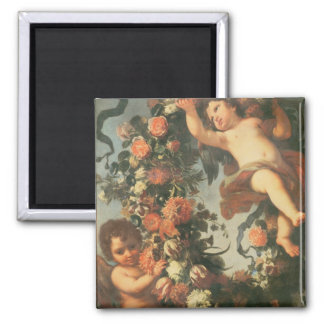 T32714 Two Putti Supporting a Flower Garland Magnet