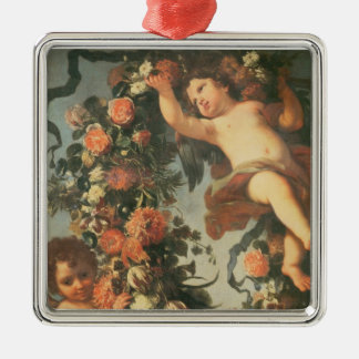 T32714 Two Putti Supporting a Flower Garland Metal Ornament