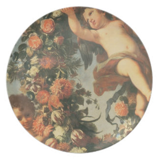 T32714 Two Putti Supporting a Flower Garland Party Plate