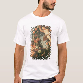 T32714 Two Putti Supporting a Flower Garland T-Shirt