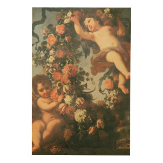 T32714 Two Putti Supporting a Flower Garland Wood Wall Art
