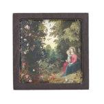 T32789 Madonna y el niño en un paisaje (el panel Cajas De Recuerdo De Calidad