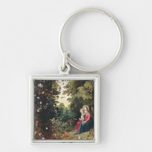 T32789 Madonna y el niño en un paisaje (el panel Llavero Cuadrado Plateado