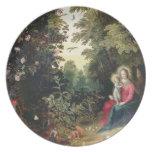 T32789 Madonna y el niño en un paisaje (el panel Plato De Cena
