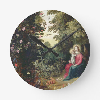 T32789 The Madonna and Child in a Landscape (panel Round Clock