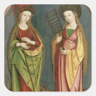 T32982 St Margaret de Antioch y de la fe del St Pegatinas Cuadradases Personalizadas