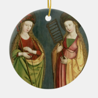 T32982 St. Margaret of Antioch and St. Faith, c.15 Ceramic Ornament