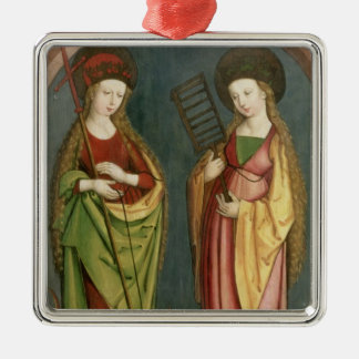 T32982 St. Margaret of Antioch and St. Faith, c.15 Metal Ornament