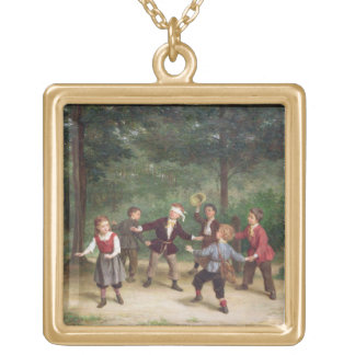 T33268 Blind Man's Buff 91316me; children; playing Gold Plated Necklace
