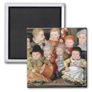 T33337 Portrait of a mother with her eight childre 2 Inch Square Magnet