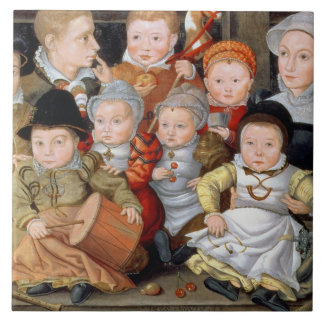 T33337 Portrait of a mother with her eight childre Ceramic Tile