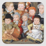 T33337 Portrait of a mother with her eight childre Square Sticker