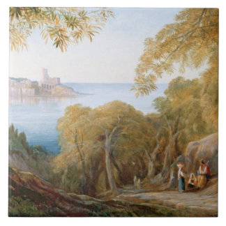 T33412 Landscape with View of Lerici, 1880 Ceramic Tile