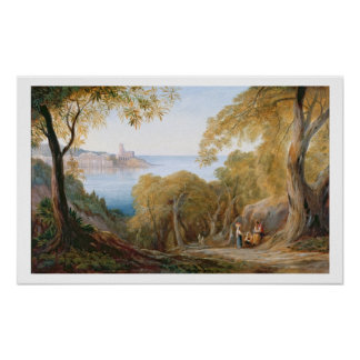 T33412 Landscape with View of Lerici, 1880 Poster