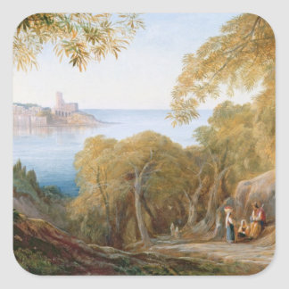 T33412 Landscape with View of Lerici, 1880 Square Sticker