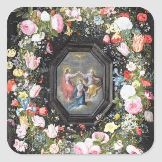 T33453 The Coronation of the Virgin surrounded by Square Sticker