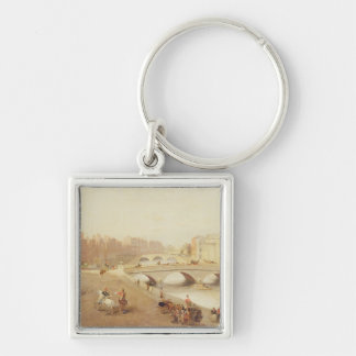 T34018 The River Liffey and the Law Courts, Dublin Silver-Colored Square Keychain