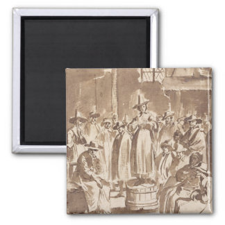 T34029 A Quaker Prayer Meeting (pen & ink on paper 2 Inch Square Magnet