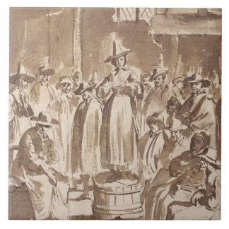 T34029 A Quaker Prayer Meeting (pen & ink on paper Ceramic Tile