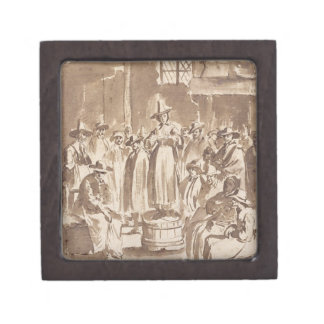 T34029 A Quaker Prayer Meeting (pen & ink on paper Gift Box