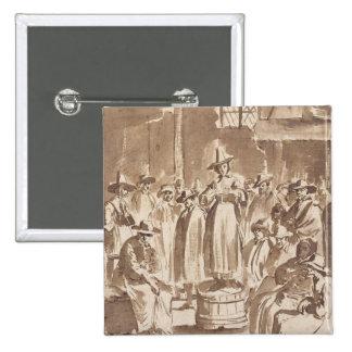 T34029 A Quaker Prayer Meeting (pen & ink on paper Pinback Button