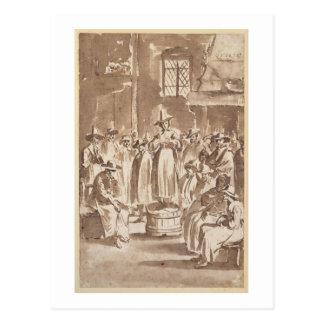 T34029 A Quaker Prayer Meeting (pen & ink on paper Postcard