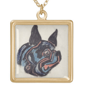 T35228 Dog (pastel on paper) Gold Plated Necklace