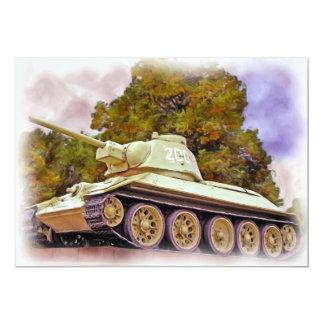 """T-34 el tanque ruso, monumento de guerra invitación 5"""" x 7"""""""