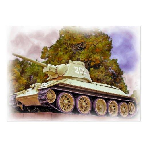 T-34 el tanque ruso, monumento de guerra soviético tarjeta de negocio