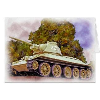 T-34 el tanque ruso, monumento de guerra soviético tarjeta de felicitación