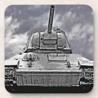 T-34 Russian Tank,Soviet Memorial,Berlin - B&W Beverage Coaster