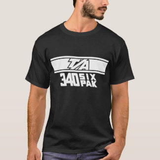 T/A 340 Six Pack Tribute White on Black T-Shirt