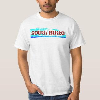 T blanco, rojo, y azul de la mota del sur polera