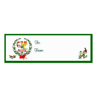 T - CHRISTMAS ELF MONOGRAM GIFT TAGS BUSINESS CARD TEMPLATE