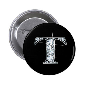 """T"" Diamond Bling Button"