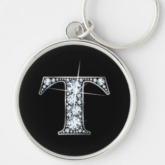 """T"" Diamond Bling Keychain"