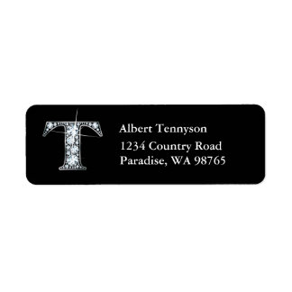 """T"" Diamond Bling Monogram Return Address Label"