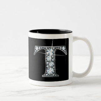 """T"" Diamond Bling on Black Mug"