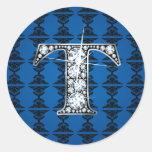 """T"" Diamond Bling on Damask Sticker"