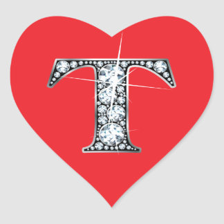 """T"" Diamond Bling on Red Heart Sticker"