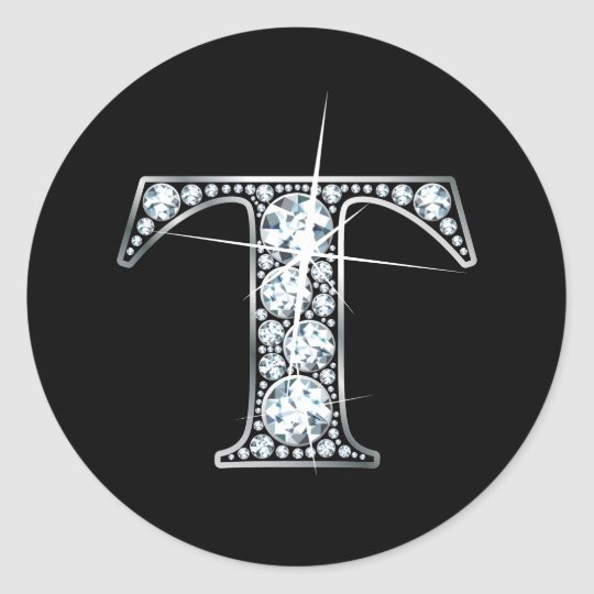 """T"" Diamond Bling Sticker"