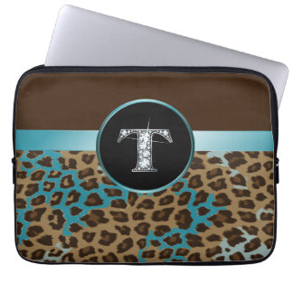 "T ""Diamond"" Brown Teal Leopard & Ribbon Computer Sleeve"