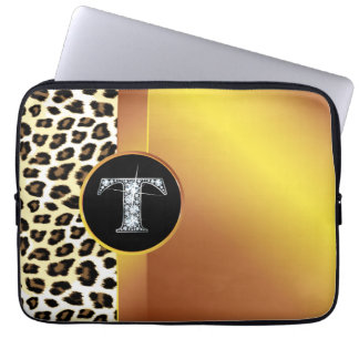 "T ""Diamond"" Gold Leopard & Ribbon Electronics Ba Computer Sleeve"