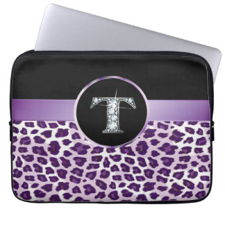 "T ""Diamond"" Purple Leopard & Ribbon Electronics Laptop Sleeve"