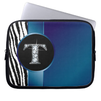 "T ""Diamond"" Zebra Stripe Ribbon Electronics Bag"