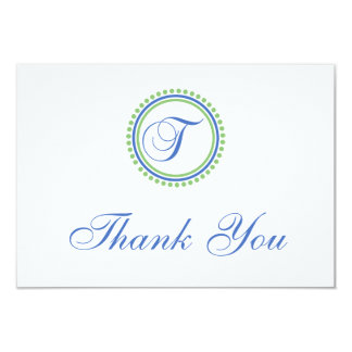 T Dot Circle Monogam Thank You Cards (Blue / Mint)