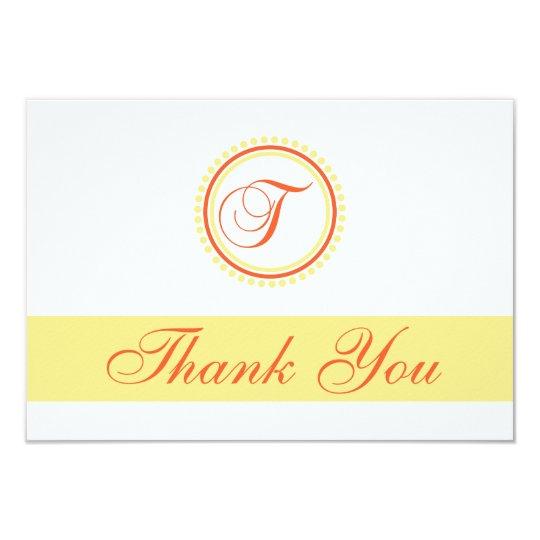 T Dot Circle Monogam Thank You (Orange / Yellow) Card