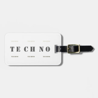 :: T E C H N O :: Luggage Tag w/ leather strap