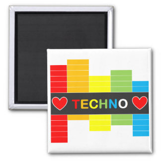 :: T E C H N O :: Rainbow 5.1cm Square Magnet