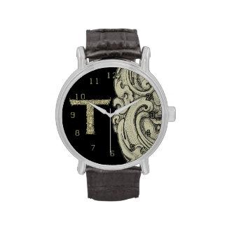 T - El alfabeto de Falck (de oro) Relojes De Mano